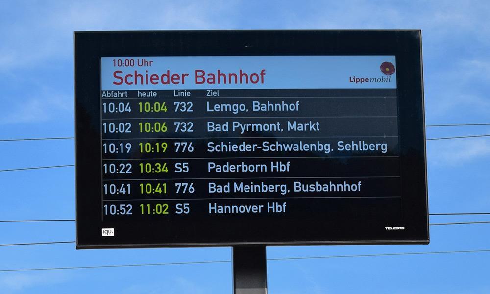 Dynamischer Fahrgastinformationsanzeiger in Schieder-Schwalenberg