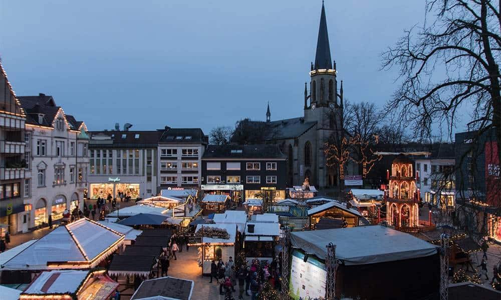 Blick auf den Gütersloher Weihnachtsmarkt