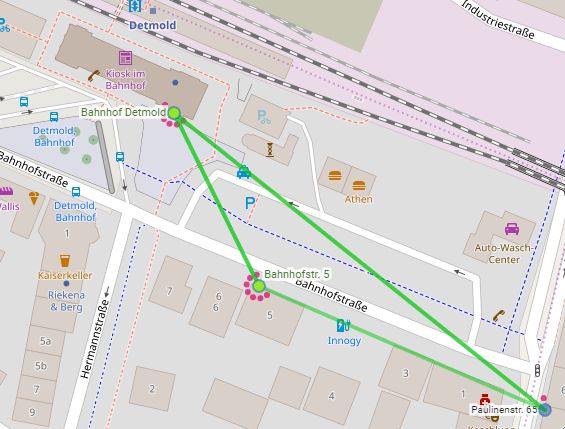 Der Kartenausschnitt zeigt die Vernetzung des Freifunk-Routers am Bahnhof. - © Freifunk Lippe e. V.)