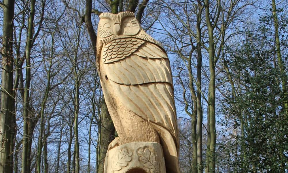 Stolz und Würde strahlt der hölzerne Uhu aus, der am Eingang des Friedwaldes wacht. - © Landesverband Lippe