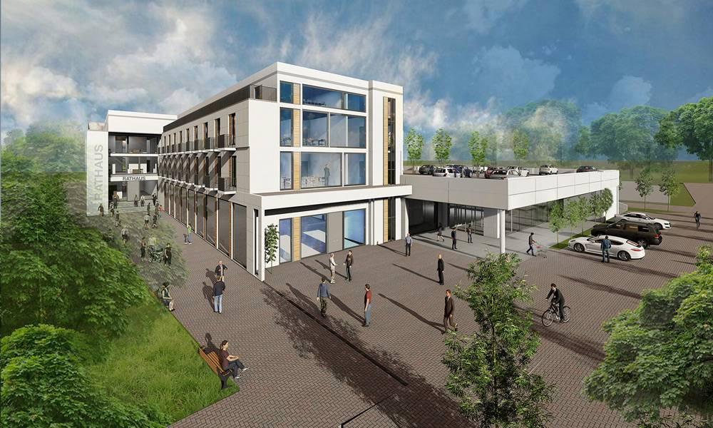Entwurf des Gebäudekomplexes - © Michael Streich, Architekturbüro SAI Streich Bielefeld