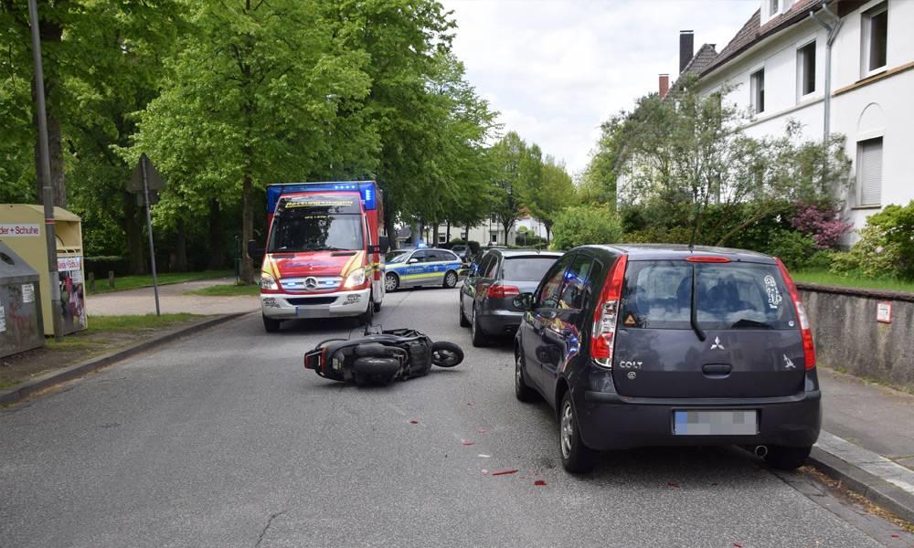 Unfallstelle in der Damaschkestraße in Herford