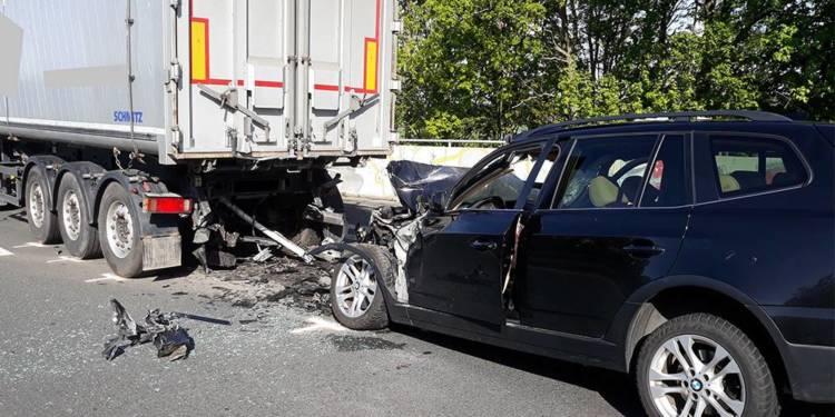Unfallstelle an der B65 bei Porta Westfalica