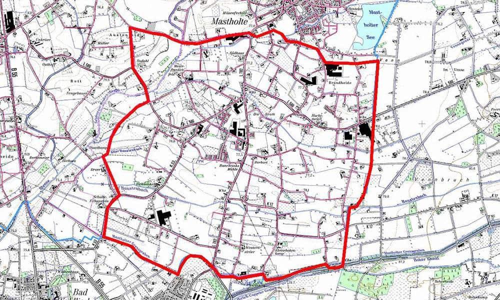 Das betroffene Untersuchungsgebiet umfasst Teile der Stadt Rietberg und der Gemeinde Langenberg
