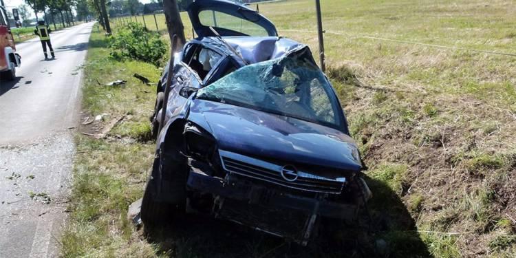 Unfallstelle an der Moororter Straße in Rahden