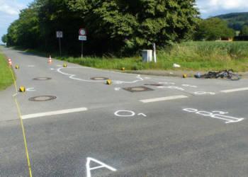 Unfallstelle an der Eichholzer Straße in Lübbecke