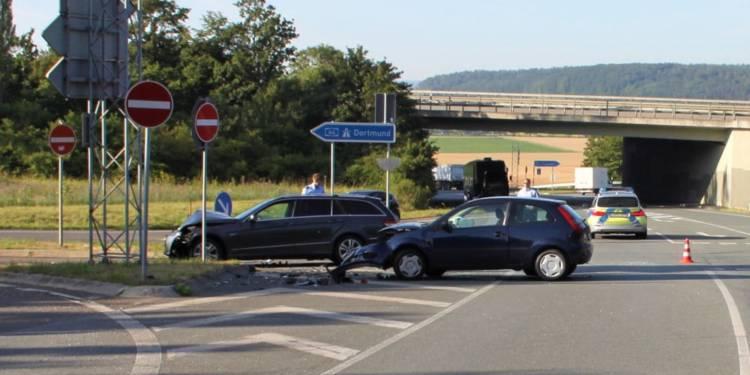 Unfallstelle an der B252 in Warburg