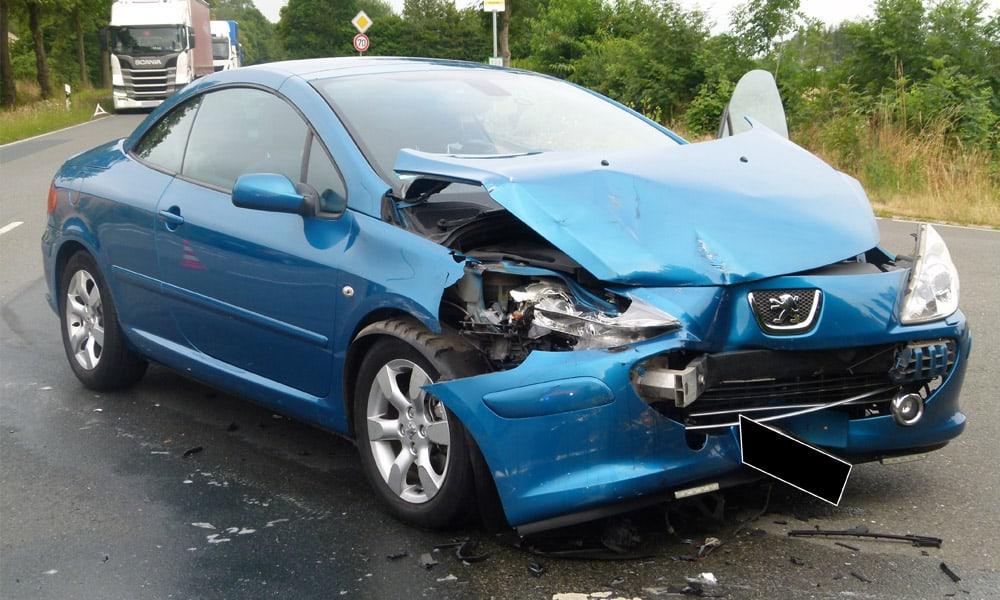 Unfallstelle an der Bergkircher Straße in Minden