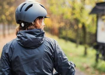 Fahrrad, Frau, Helm